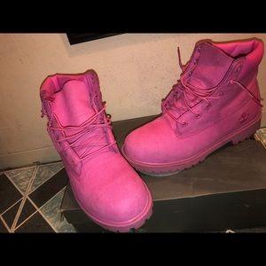 "Kids pink  6"" Timberlands boots"